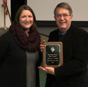 Southern Hills Arts Council Board of Trustees President Cora Willett, is pictured with the 2017 Southern Hills Arts Council's Volunteer of the Year, Randy Clawson.