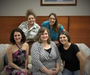 Pictured are members of The Dixie Swim Club cast. Pictured in front, from left, are Laura Miller as Lexie, Maria Hampton as Dinah, and Cassie Walker as Sheree. Pictured standing, from left are Elaine Wheeler as Vernadette and Lucia Colley Jones as Jeri Neal.