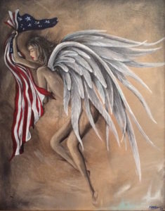 """""""Exhausted Freedom"""", pictured, expresses the burdens we put on our Angels as we tug back and forth screaming """"America"""".  The Angels that watch over us do so without prejudice, or judgment. This painting shows the emotional drain we put our guardian angels through during this rough road we have in America. The upcoming show for Karisa DeLay will be called 'Bare Wings' featuring the emotions of angels."""